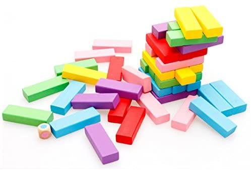 Bignosedeer 48 Uds. Juego de torre de apilamiento de madera como Jenga, tablero tradicional para niños, nuevos juegos populares de rompecabezas