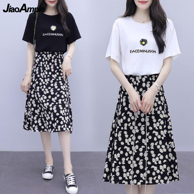 المرأة الصيف السببية 2 قطعة مجموعة الملابس 2021 المرج شيك طباعة ديزي فضفاضة قصيرة الأكمام قمصان طويلة التنانير دعوى الإناث