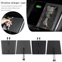 Беспроводное зарядное устройство для телефона, двойная быстрая зарядка, автомобильное крепление для Tesla Model 3, центральное управление заряд...