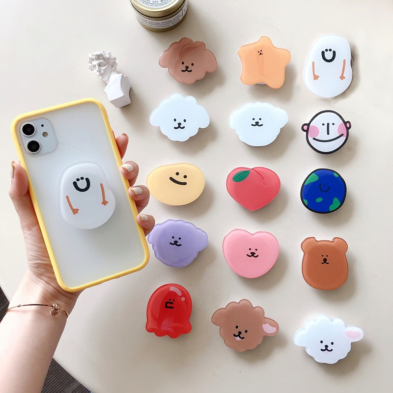universal mobile phone bracket bracket safety long bracket mobile phone bracket finger cute cartoon bracket New hot-selling universal cute cartoon foldable mobile phone finger ring bracket handle airbag bracket accessories for iPhone