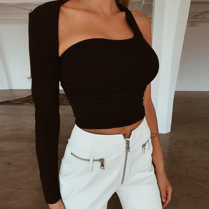 Camiseta de manga larga sin espalda de manga larga con un solo hombro para mujer