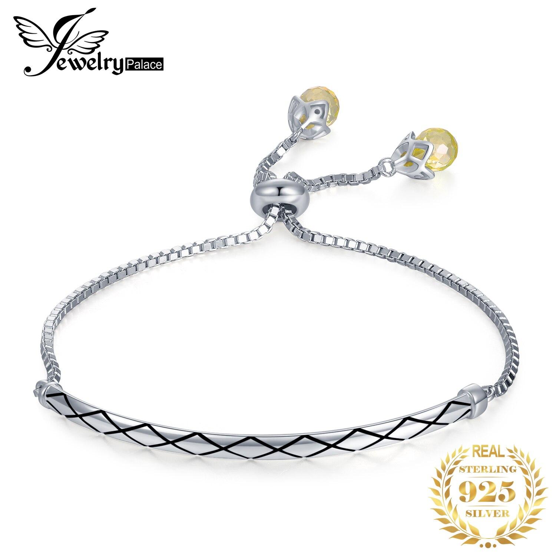 Jewelrypalace 925 prata esterlina amarelo forma de pêra cúbica zircônia bola final auspicioso pulseira ajustável para mulher