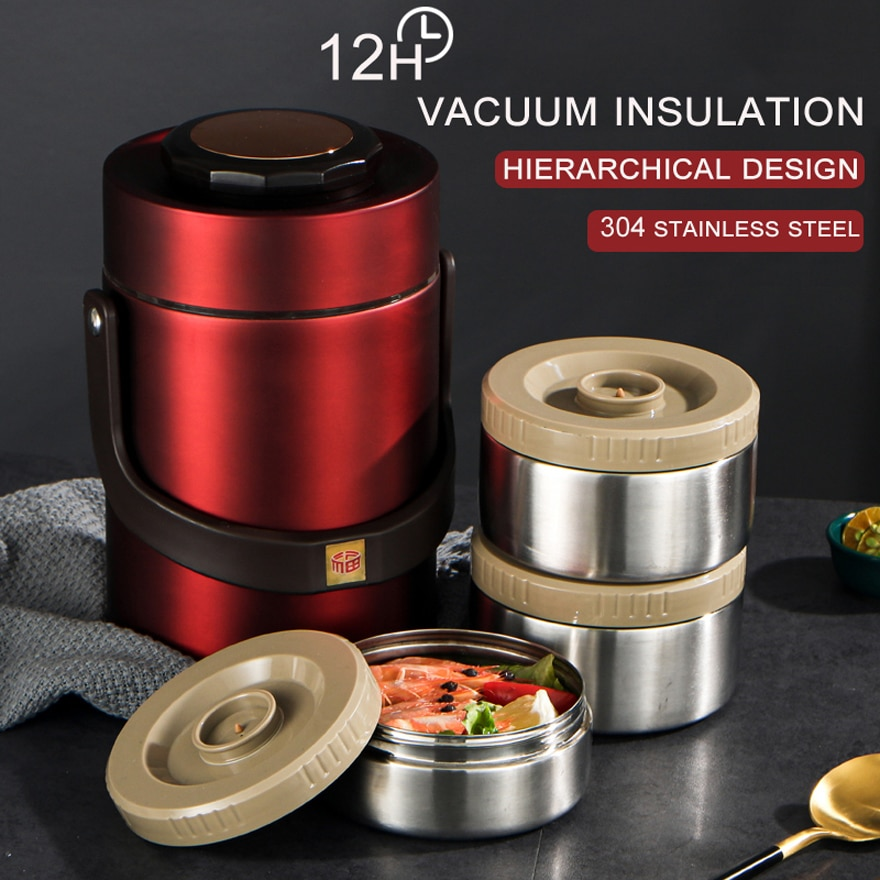 Portable Outdoor Large Capacity 304 Stainless Steel Vacuum Insulation Bento Lunch Box Leak-Proof Food Container Food Thermos