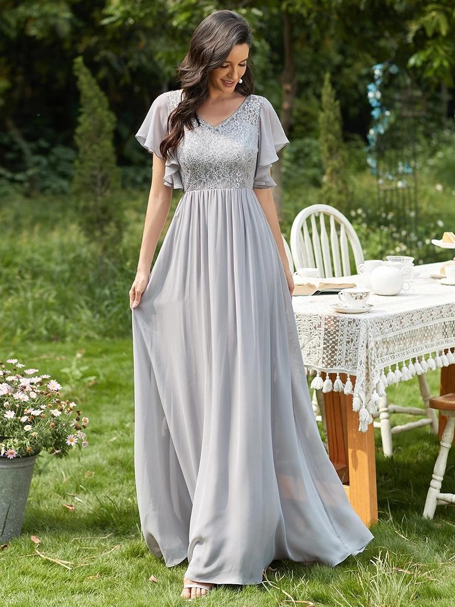 Wholesale Gorgeous A-line, Deep V-neck Dress for Mature Women