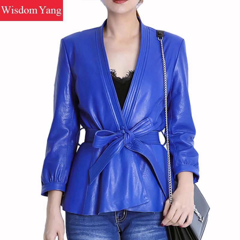 Autumn Black Blue Real Sheepskin Genuine Leather Jackets Women Coat Belt Bow Short Overcoat Bomber Ladies Jacket Coats Outerwear