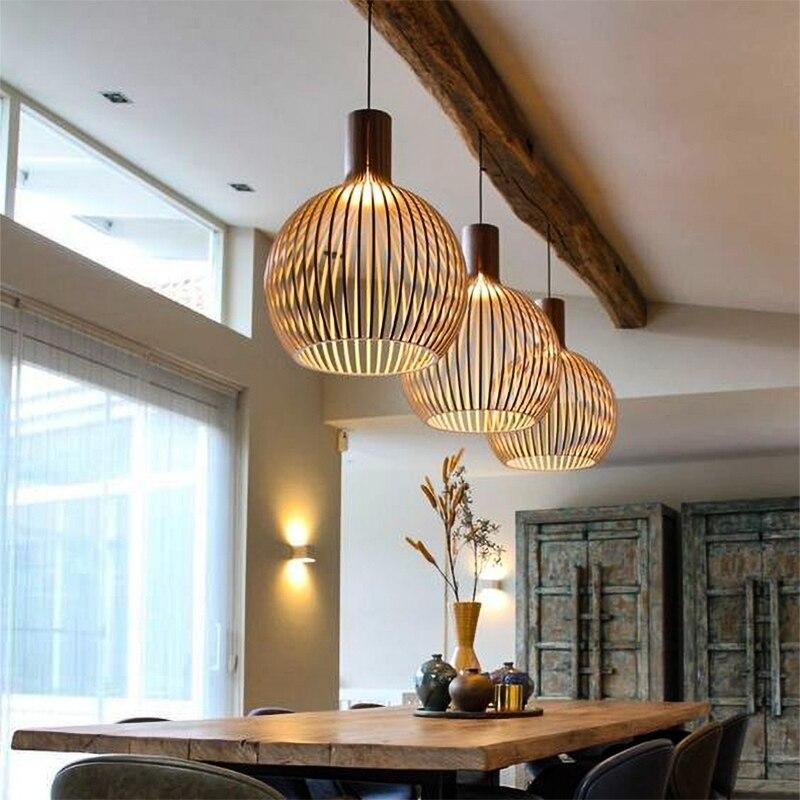 Birdcage Lamp Black Wood Pendant Lights E27 Restaurant Decoration Wood Hanging Lamp for Living Room Bedroom Light Fixtures