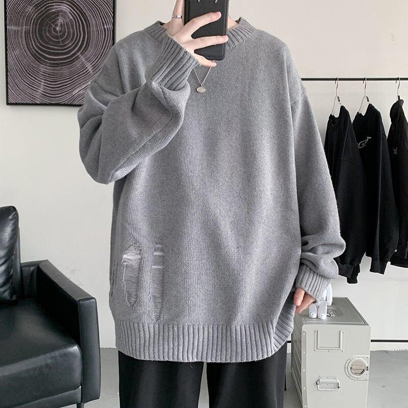 Зимний мужской свитер с круглым вырезом, корейский Повседневный свитер, мужская мода, свободный свитер с дырками, Мужской пуловер, мужской в...
