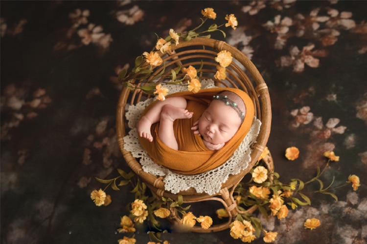 Newborn Photo Shoot Posing Bed Bamboo Basket Baby Photography Props Handmade Vintage Chair For Boys Girls Fotografia Acessorio enlarge