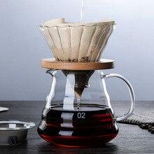 Supports en bois verre de 700ML/500ML   Goutteur à café et ensemble de pots pour filtre réutilisable de style Hario V60