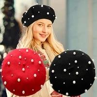 2021 fashion new princess children hat female beret cute pearl beanie beanie spring and autumn winter pearl woolen hat
