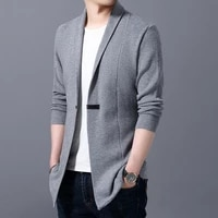 spring autumn mens high end brand business casual solid color slim mid length cardigan jacket sweater men knitted trench coats