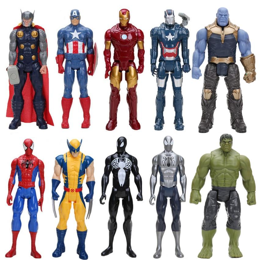 30cm los Vengadores superhéroe Spider-man spider man thor iron man Capitán América PVC acción figura juguete móvil en miniatura