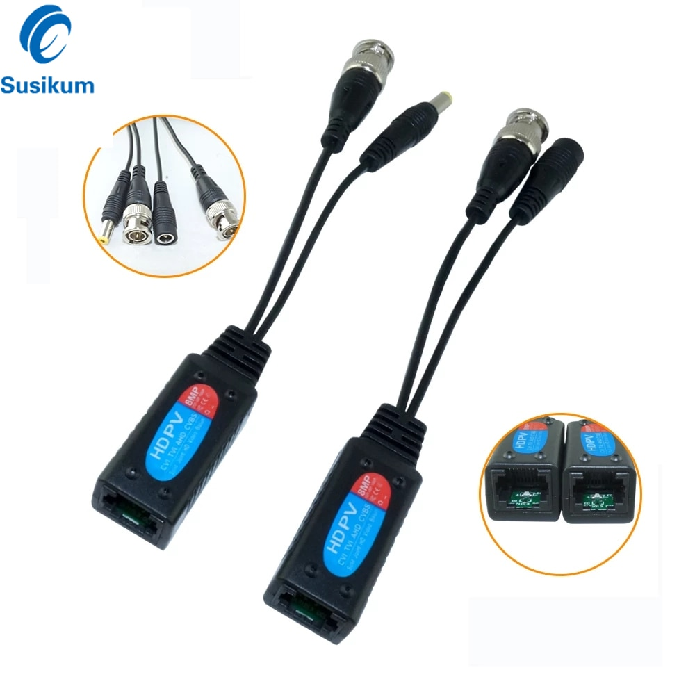 5Pairs BNC TO RJ45 Passive Video Balun Adapter with Power Connector Balun Transceiver For CCTV Cameras enlarge
