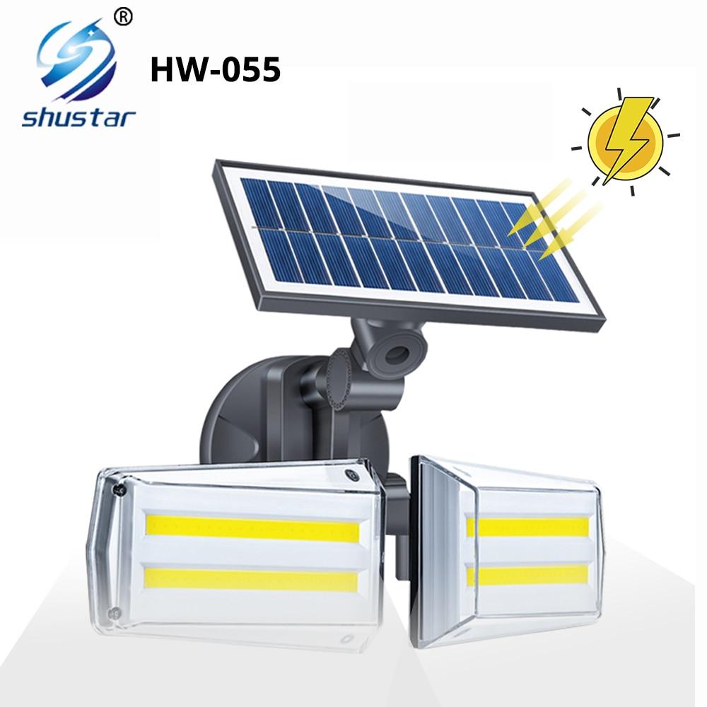 luminaria solar super brilhante 80 cob lampada ao ar livre com sensor de movimento