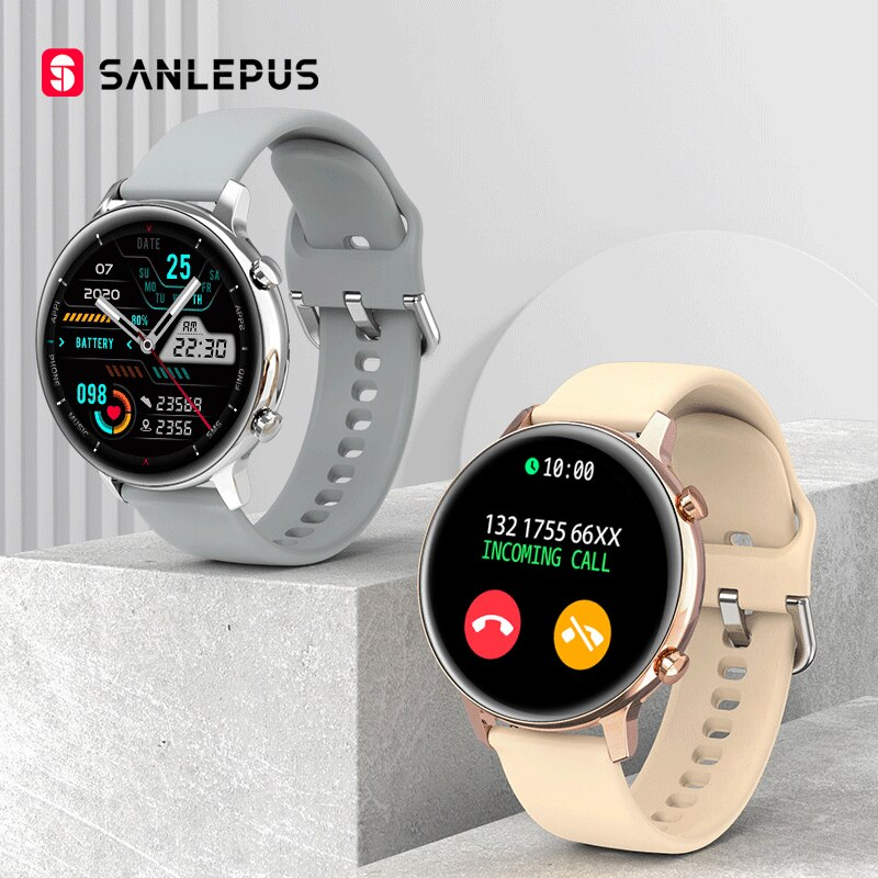 جديد لعام 2021 ساعة ذكية من SANLEPUS ساعة يد ذكية للاتصال بالموسيقى MP3 للرجال والنساء ساعة يد مقاومة للمياه لهواتف أندرويد iOS وسامسونج وهواوي