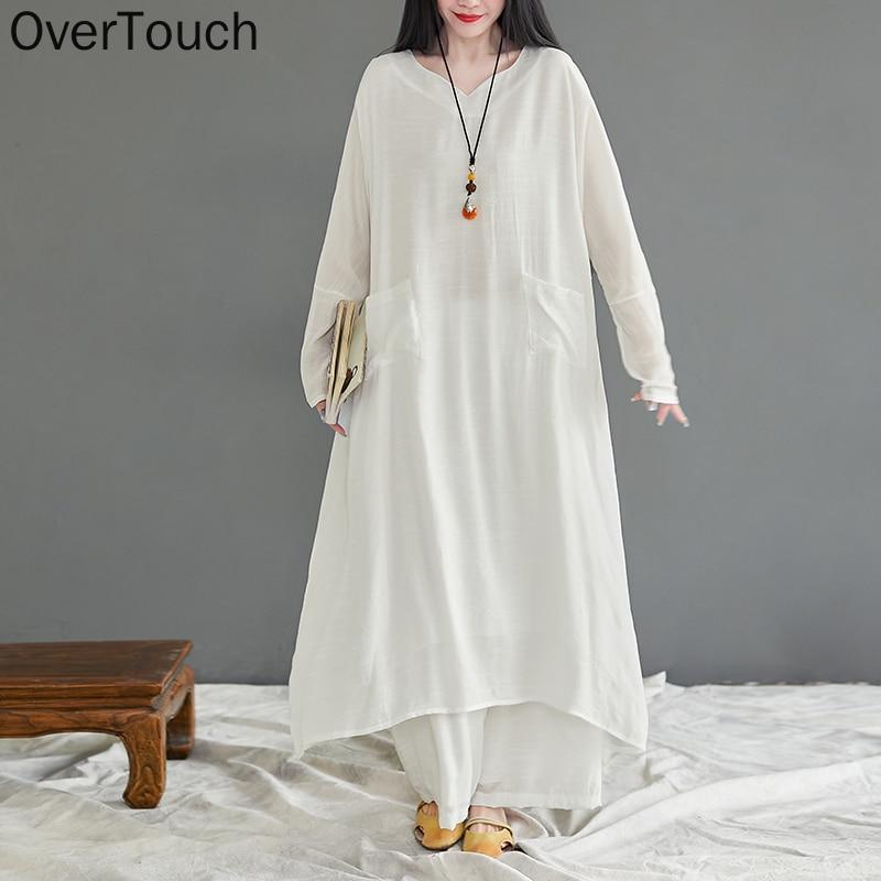 حجم كبير النساء قطعتين مجموعة دعوى المنزل ارتداء الكتان بلايز قمصان فضفاضة السراويل خمر الصلبة كم طويل ابيض الصيف 2021