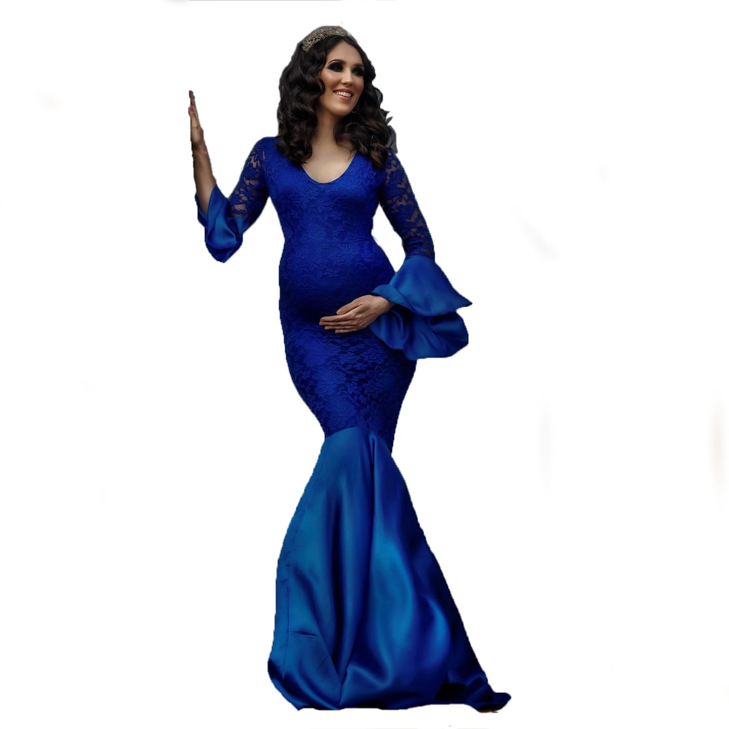 Womens 2021 Formal Lace Maternity Dresses Split Front Long Pregnancy Photography Dress Pregnant Women Maxi Gown For Photo Props enlarge