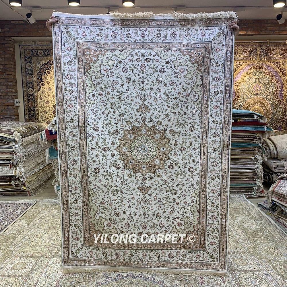 YILONG-سجادة حرير فارسية حصرية ، 4 × 6 بوصة ، إكسسوار لغرفة المعيشة ، زهري شرقي عتيق (HF302B)