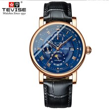 TEVISE T867A Automatic Mechanical Watch Man Date Week Month Display Waterproof Leather Strap Zirconi