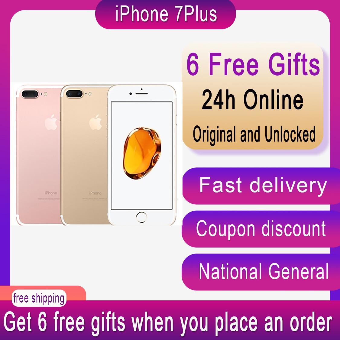 Original Apple iPhone 7 Plus Unlocked 3GB RAM 32/128/256 ROM IOS CellPhone LTE 12.0MP Camera Apple Quad-Core Fingerprint 2910mAh