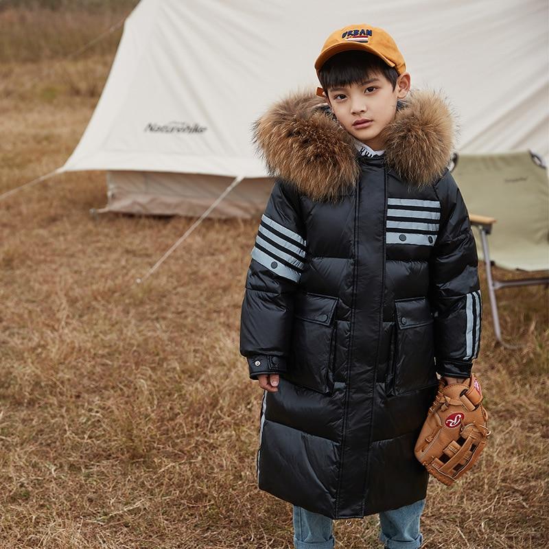 -30 Russian Winter Snowsuit 2021 Girls Clothes Warm Down Jacket Waterproof Outdoor Hooded Coat Boys Kids Fur Coat Clothing enlarge