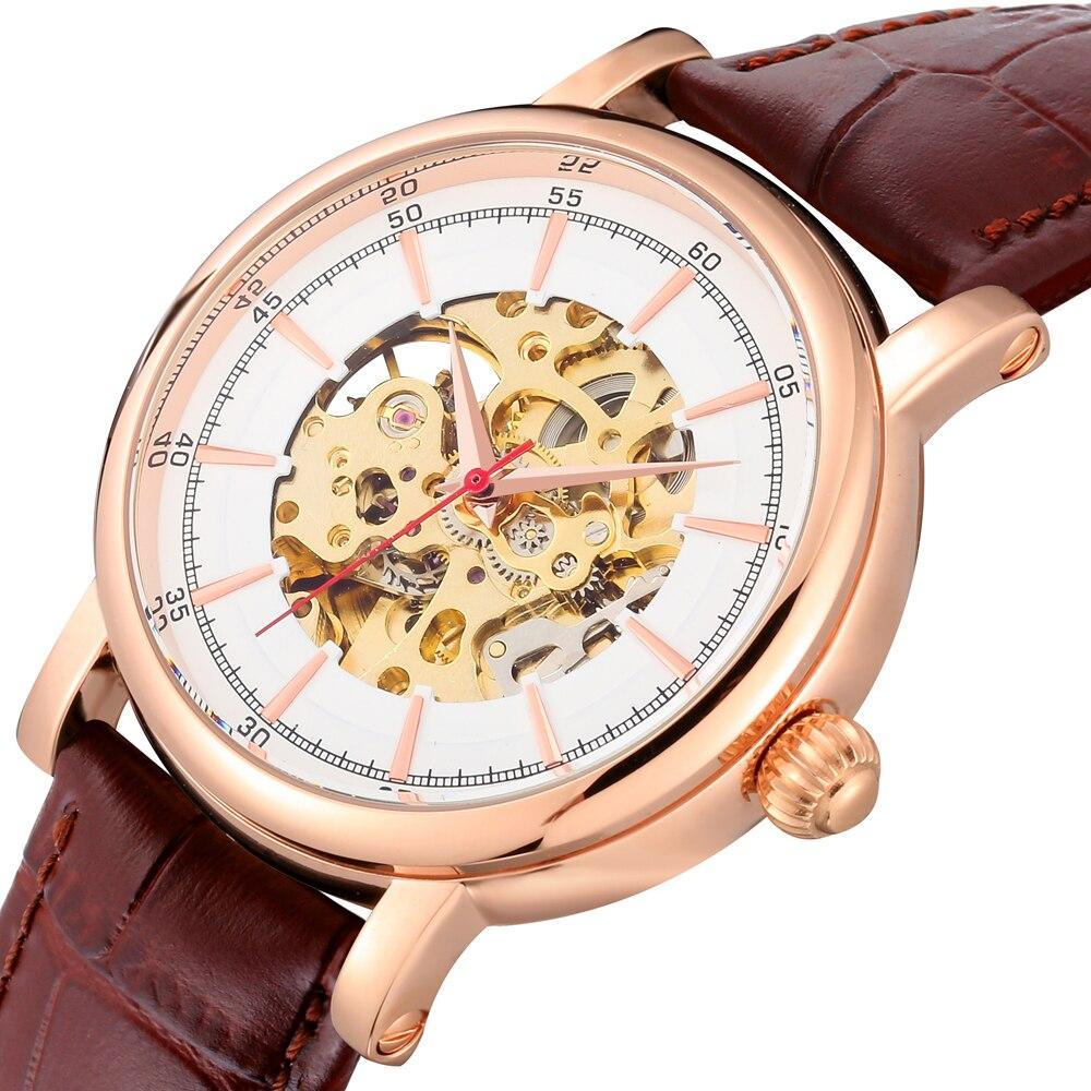 Reloj Mecánico esqueleto resistente al agua de acero inoxidable caja transparente reloj de mano clásico americano relojes automáticos Unbrand