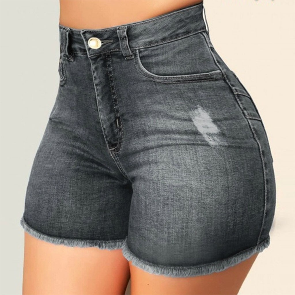 Workout Women Broken Denim Shorts Ripped Jeans High Waisted Hotpant Slim Fit Pantalones Sexy Pants Aesthetic Cow Boy 2021