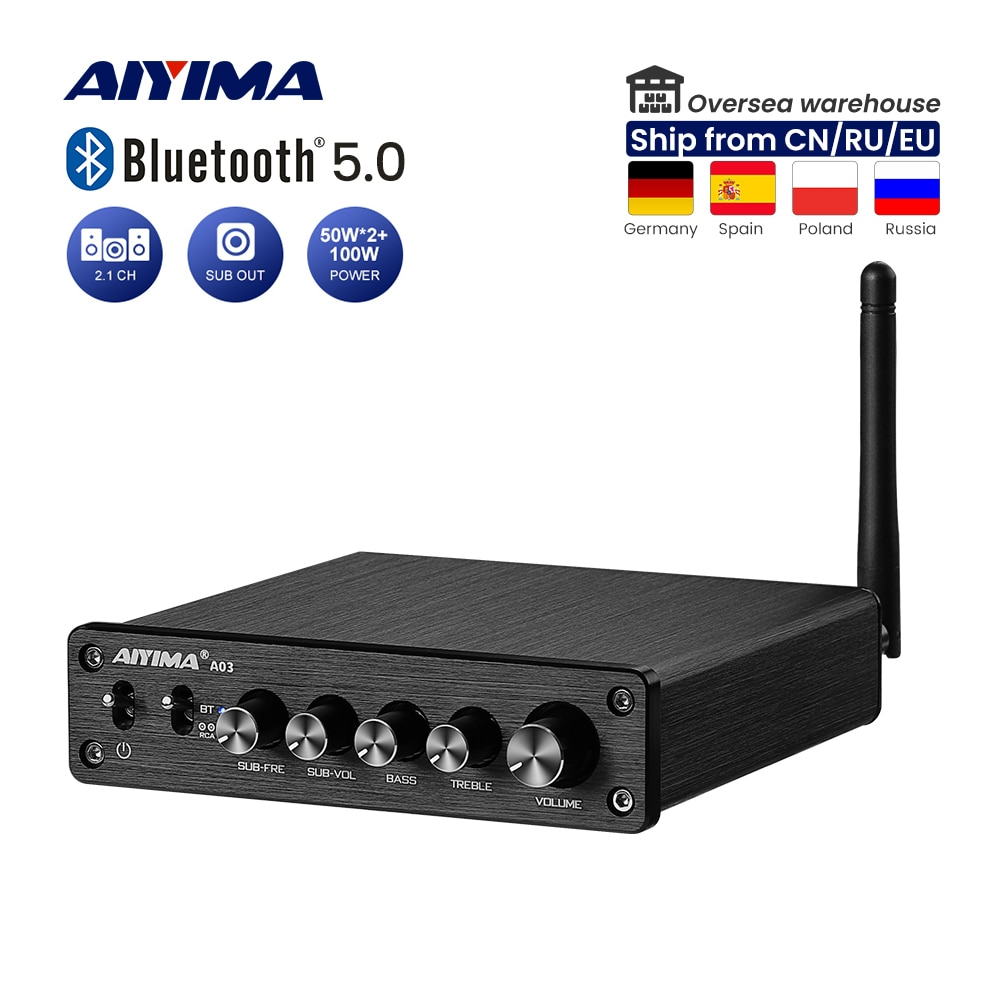 AIYIMA الصوت A03 TPA3116 بلوتوث مكبر للصوت Hifi ستيريو 2.1 قناة 100 واط + 50Wx2 باس ثلاثة أضعاف التحكم مضخم الصوت أمبير DC12-24V