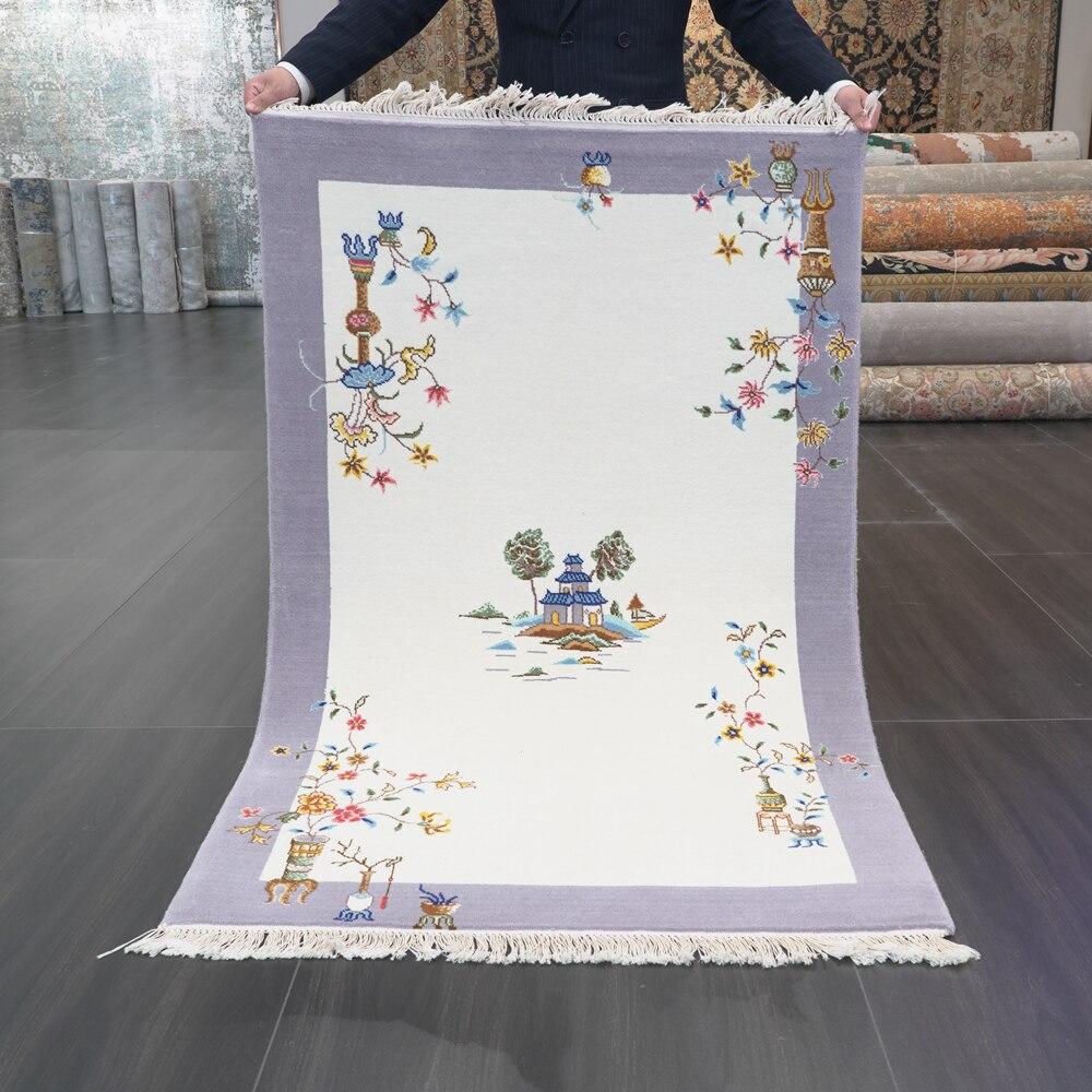سجادة صوف منسوجة يدويًا صغيرة مقاس 3 × 4.7 بوصة سجادة منطقة ديكور فن الآرت ديكو الصينية (CNW11)