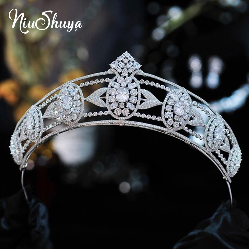 NiuShuya Quality Lux Wedding Bridal Leaf Cubic Zirconia Girls Headpiece Wedding Party Graduation Birthday Prom Hair Accessories