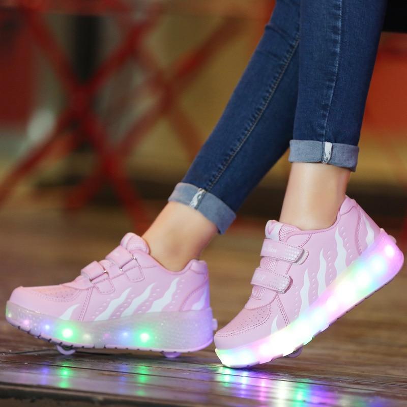 2021 Kids Sneakers LED Shoes Two Wheels Roller Sneakers Boys Girls Winter Children Luminous Footwears Skates Casual Shoes 28-43 enlarge