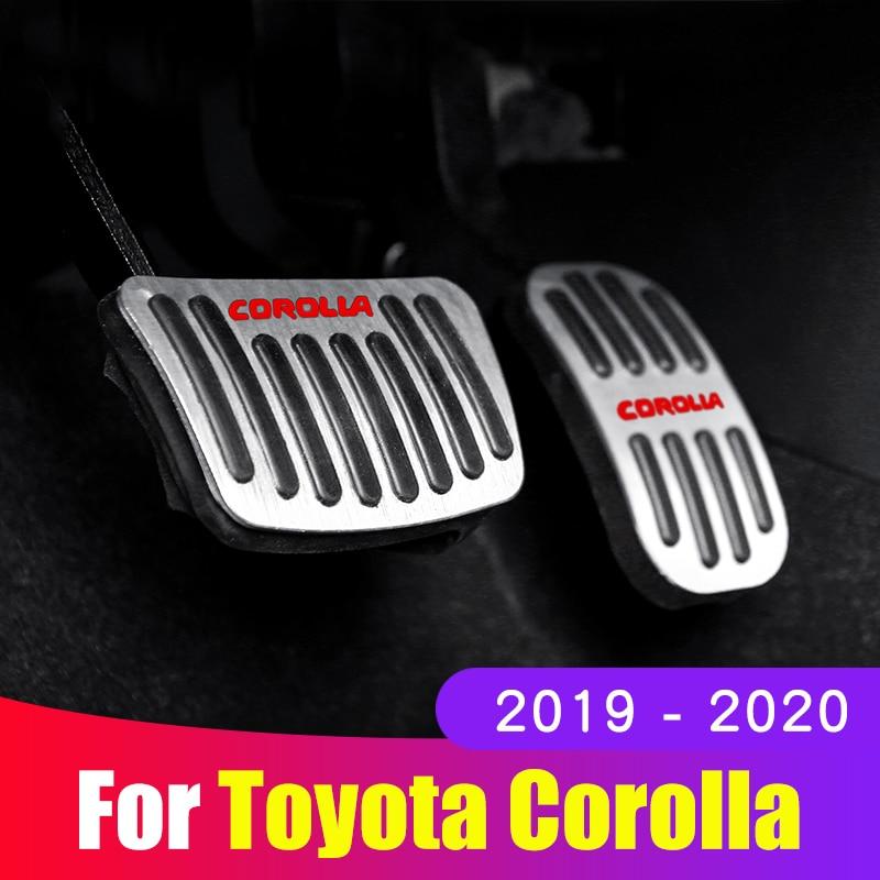 Liga de alumínio do carro acelerador pedal gás pedal freio apoio para os pés pedais não deslizamento almofada capa para toyota corolla 2019 2020