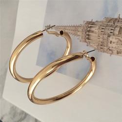 Moda ouro cor chapeamento 4mm tubo de rolamento hoop brincos vintage casual bohemia jóias acessório