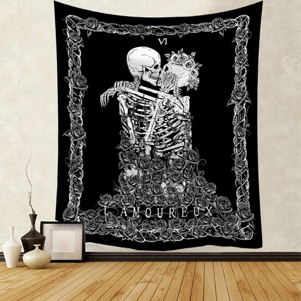 Tapiz de Tarot con diseño de calavera de siete estrellas, tapiz para colgar en la pared de amantes besándose, tapiz con esqueleto negro, Alfombra de toalla de playa 130*150CM 30E