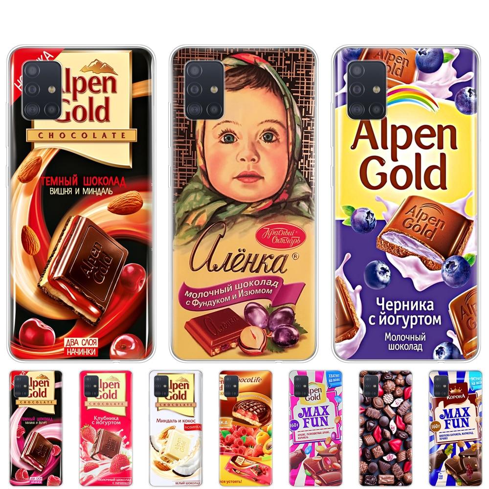 Caja del teléfono de silicona caso de la cubierta para samsung galaxy A31 A41 A51 A71 A01 A11 A21S A81 A30S A20S A50S M30S M40S alenka bar chocolate wonka