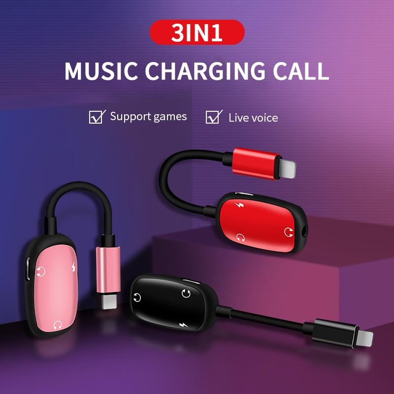 Адаптер Кабели для Apple iphone аудио кабель зарядки разъем для iphone ipad до 3,5 мм адаптеру головного телефона разветвитель aux 3in1 аудио адаптер