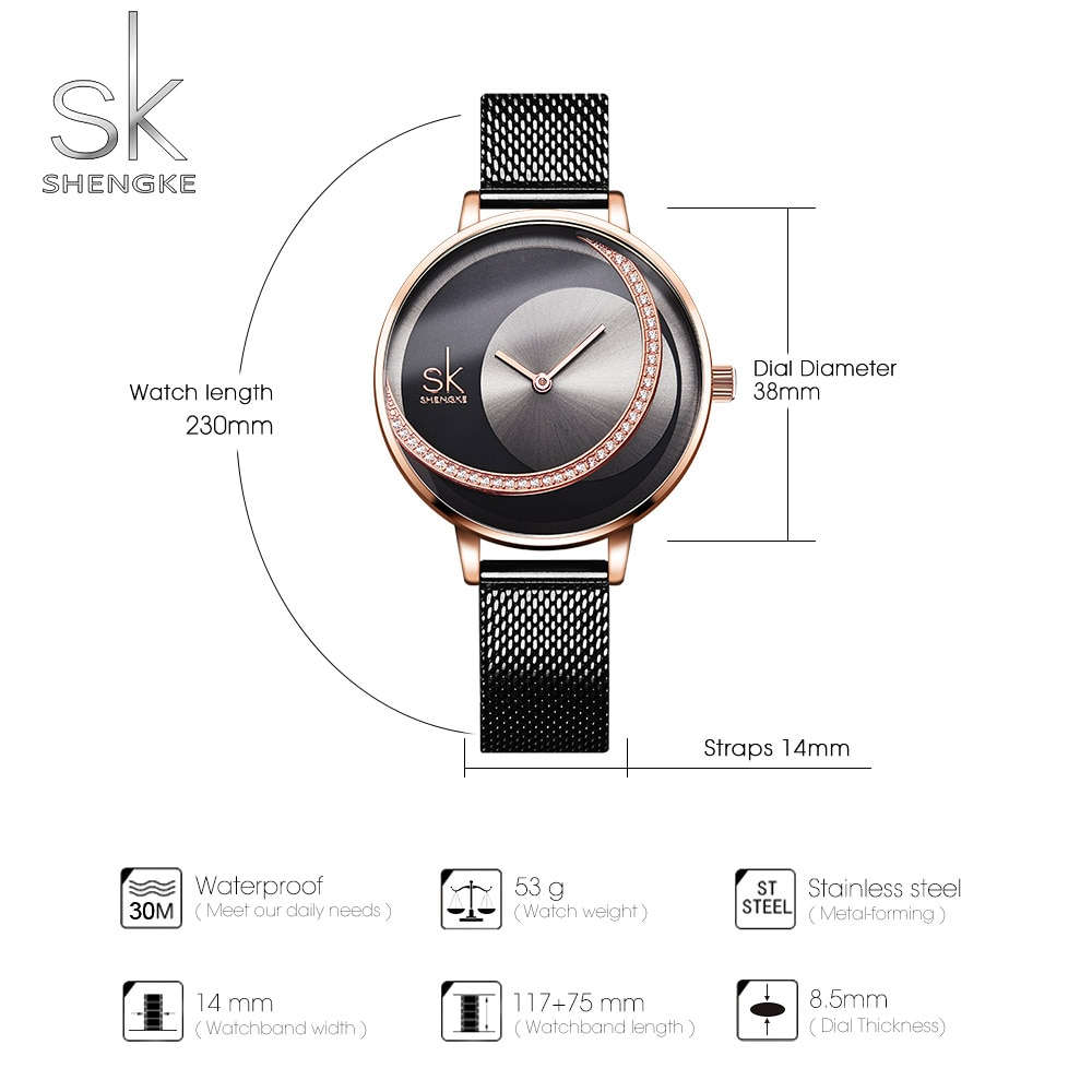 SYNOKE Fashion Watch Women Luxury Brand Women's Watches With Stainless Steel Bands Diamond Surround Dial relogio feminino Watch enlarge