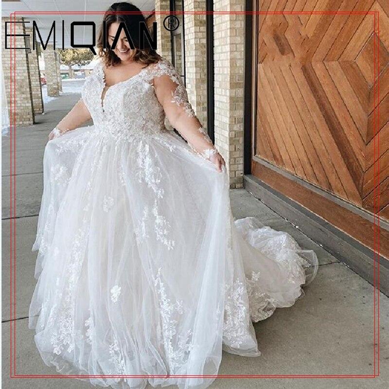 Get Plus Size Long Sleeves Wedding Dresses Boho Appliqued Lace Bridal Gowns A Line Foor Length Bohemain Bride vestido de noiva
