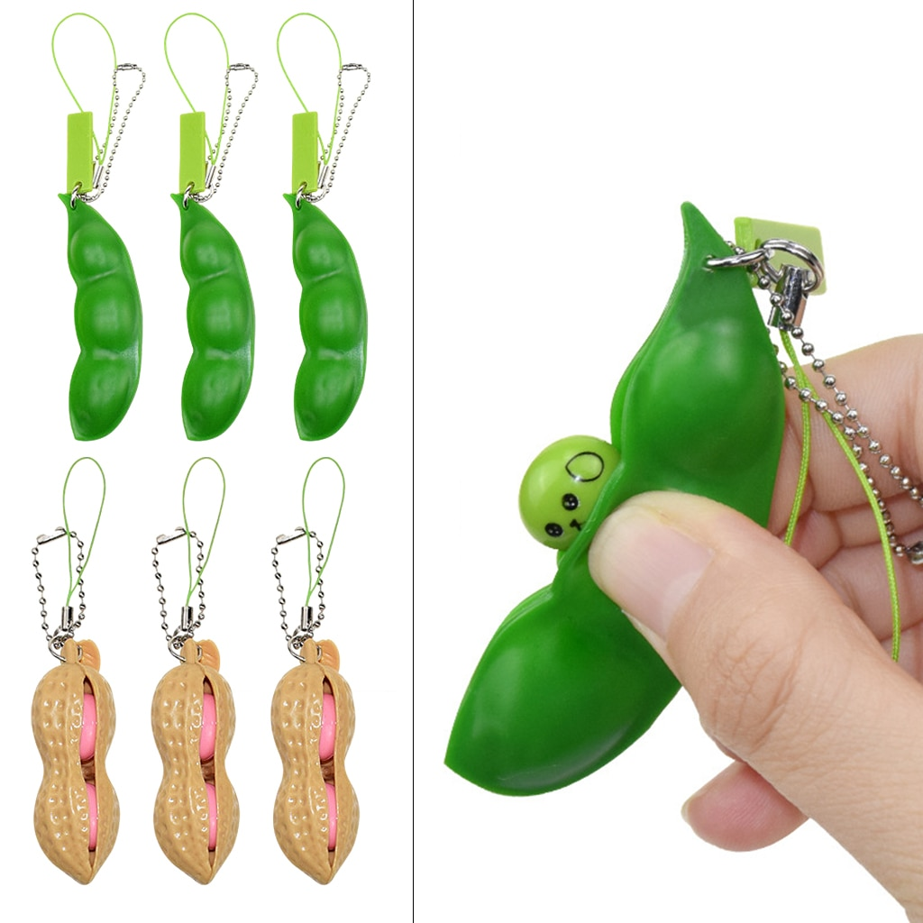 Stress Relief Toys Anti-Anxiety Keyring Squeeze Bean Peanut Pendant Toys enlarge