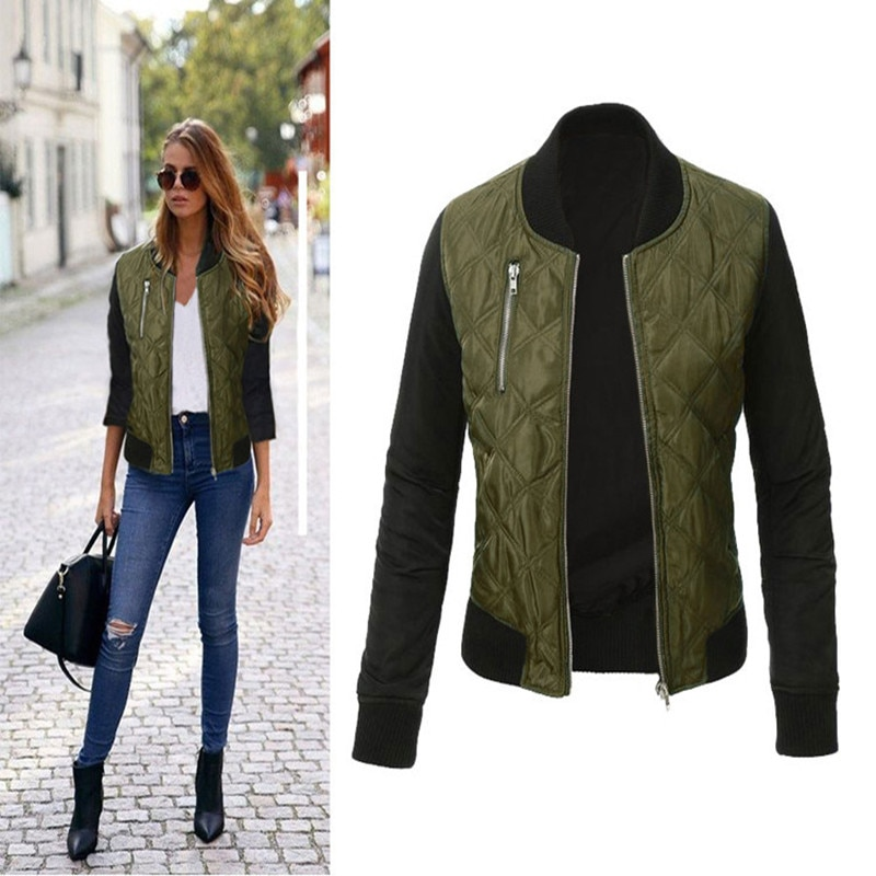 Casual Cotton Solid Jacket Women's Autumn Winter Zipper Bomber Jaqueta Slim Stitching Quilted Jackets Coats Leisure Fashion New