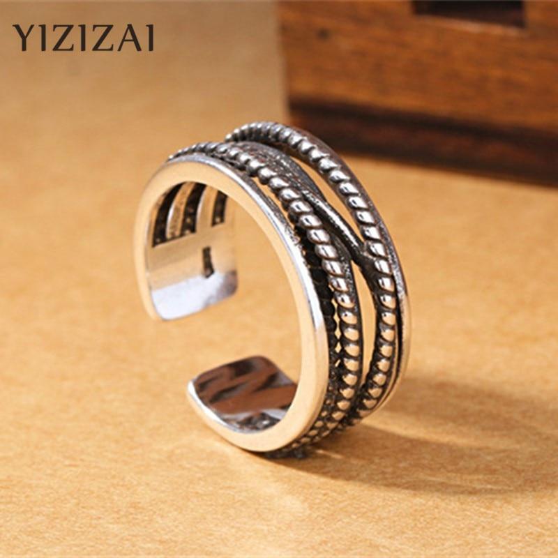 Yizizai retro vintage prata cor mão aberta dedo anéis para mulher masculino jóias esterlinas