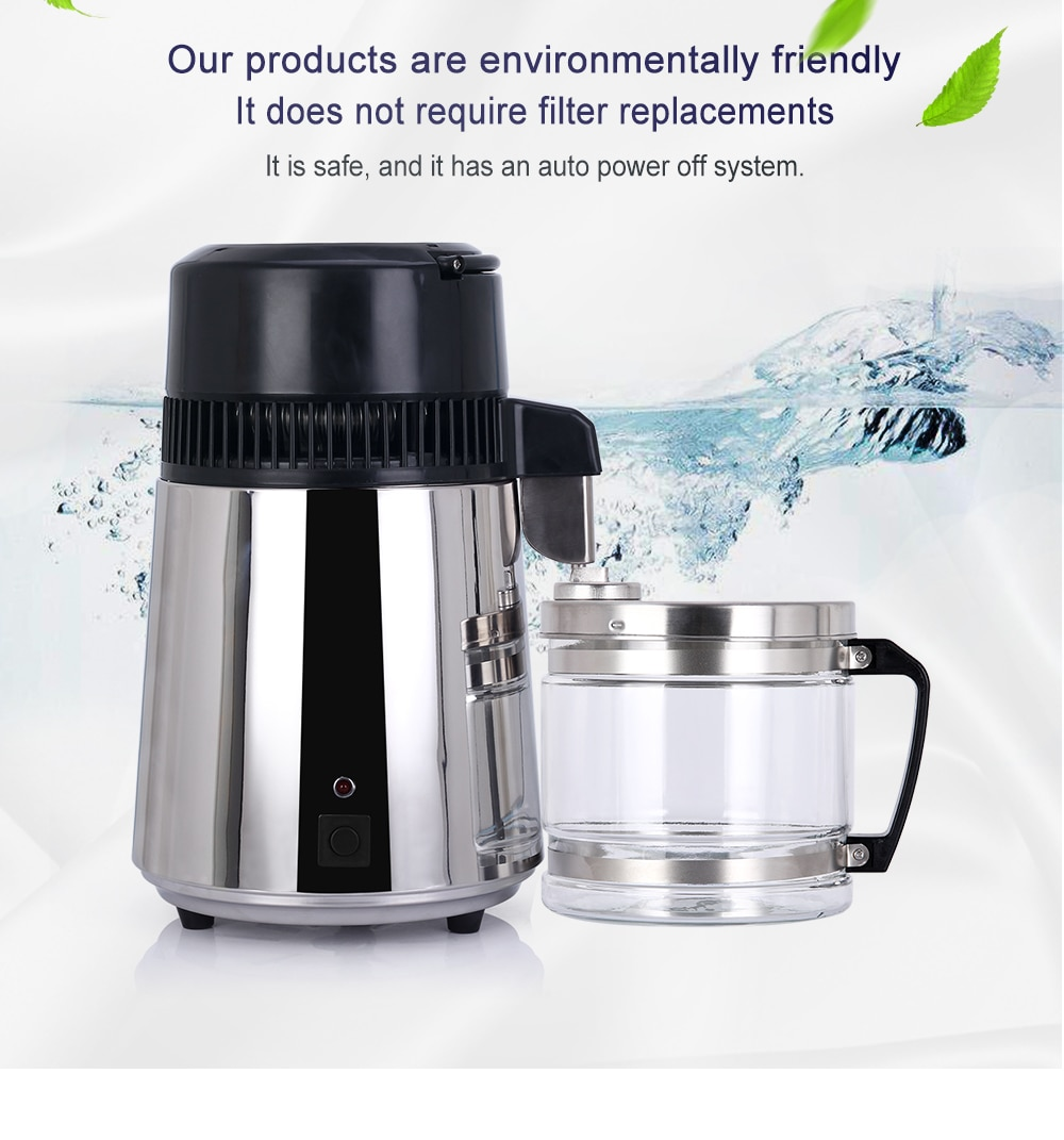 4L Electric Stainless Steel Water Distiller Container Alcohol Purifier Filter with Glass Jar Distilled Water Device EU Plug enlarge