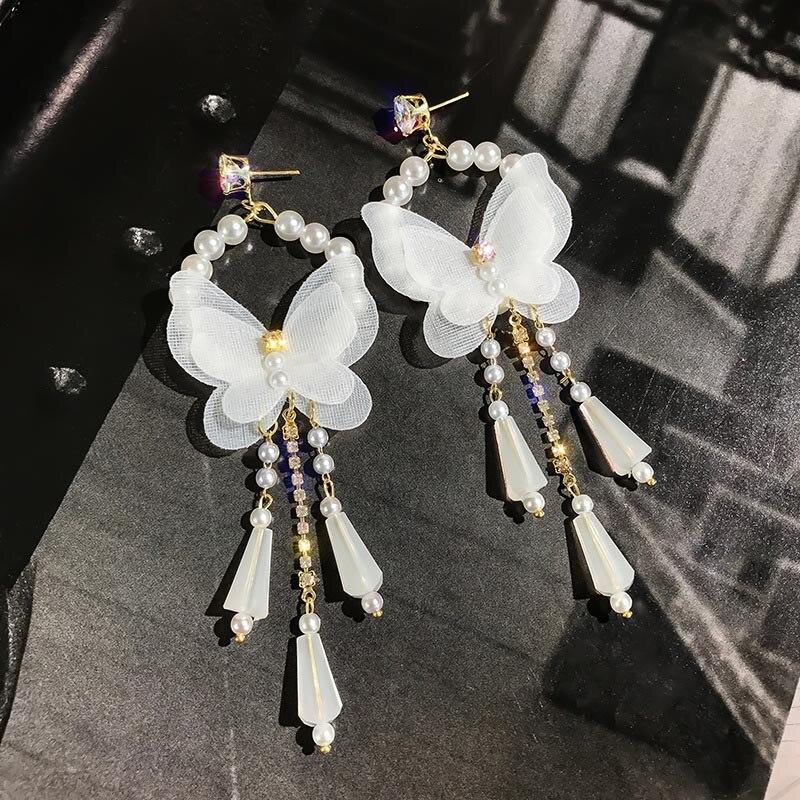 FORSVEN Sweet Boho estilo blanco hilo mariposa de encaje pendientes colgantes de cristal novia playa boda joyería decorativa