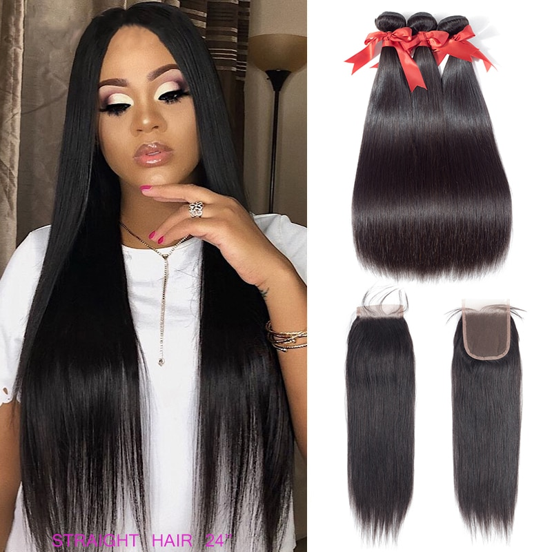 Straight Bundles With Closure Brazilian Human Hair Beauhair Weaves With 4x4 Lace Closure With Bundles 24 26 28 Hair Extension
