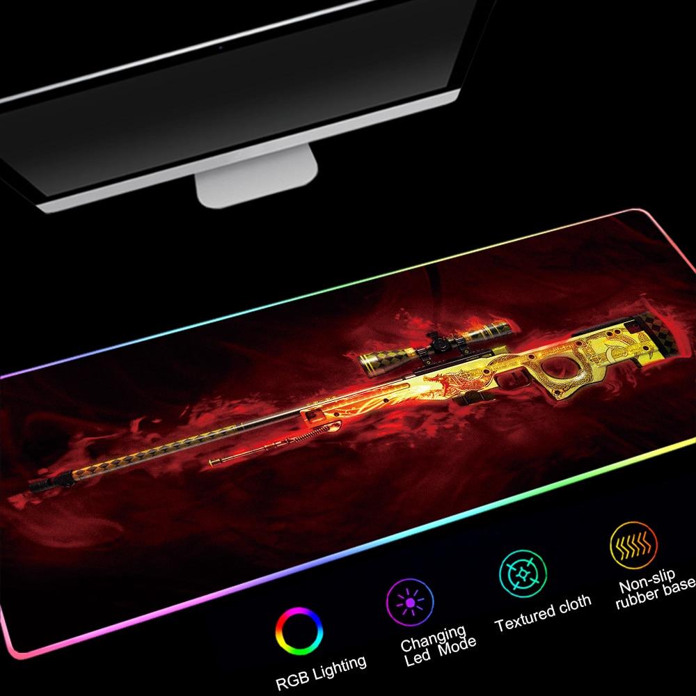 لوحة ماوس كبيرة RGB CSGO للألعاب ، لوحة ماوس مطاطية بإضاءة خلفية Led ، لوحة مفاتيح سطح المكتب ، CS GO ، مناسبة لسطح المكتب