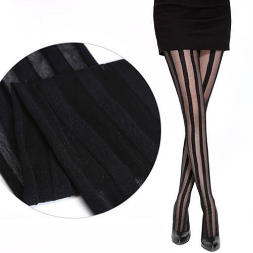 Женские винтажные сексуальные черные эластичные колготки с вертикальными полосками medias compresivas colant fille hiver külotlu çorap
