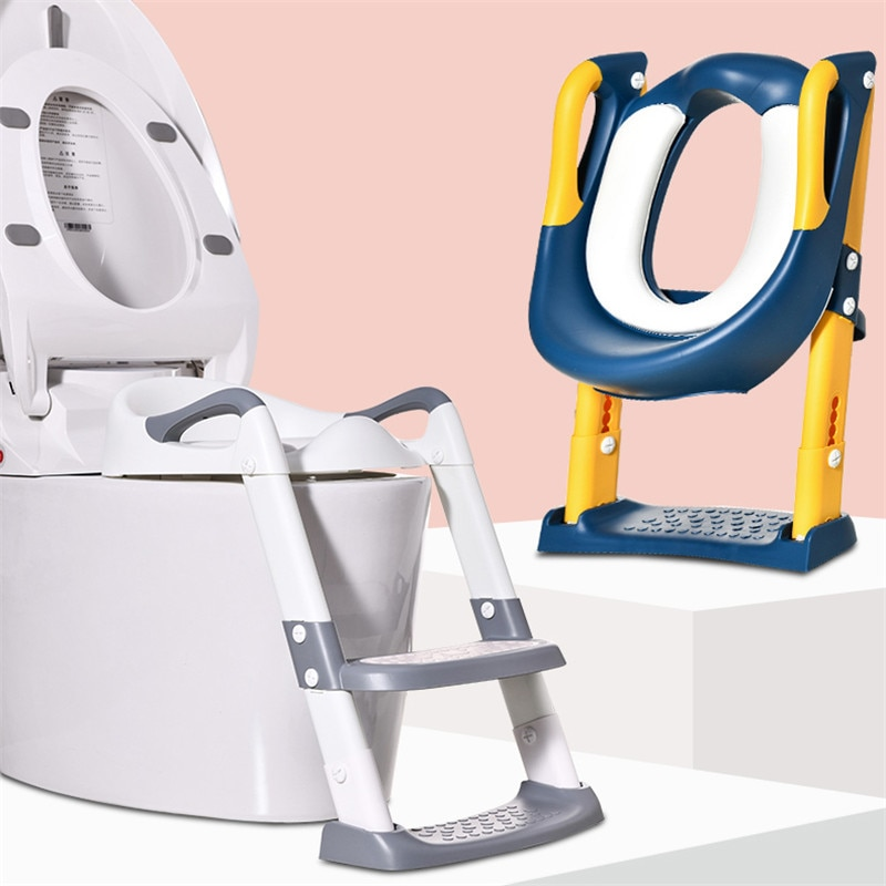 Folding Children's Potty Training Toilet Baby Pot Seat Urinal Chair With Adjustable Step Stool Ladder Comfortable Safe Toilet