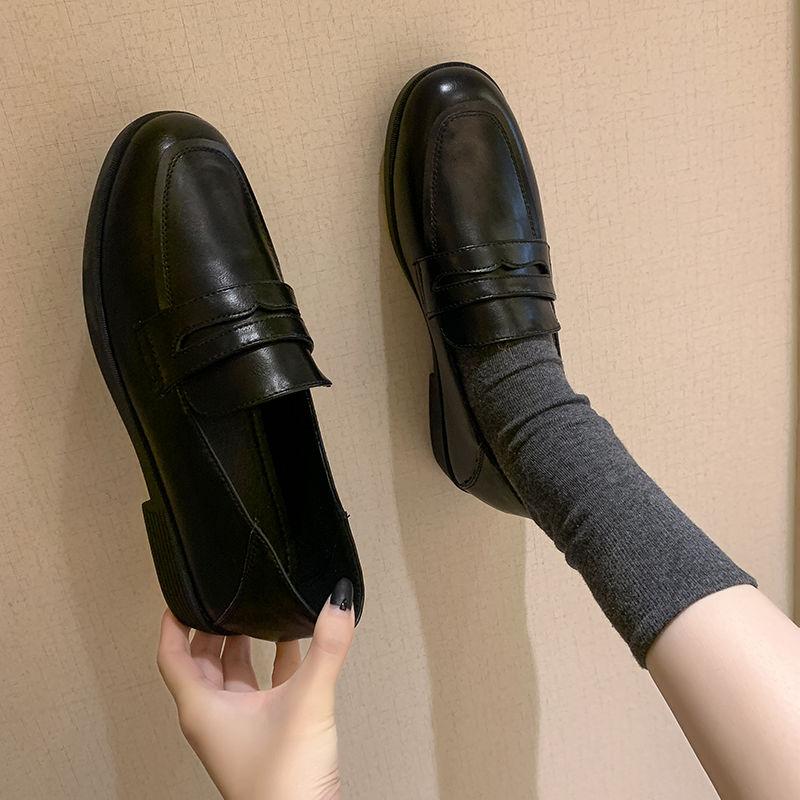 Loafers Femininos Flat Estilo Britânico Preto 2021 Outono Senhoras Moda Conforto Feminino Sapatos Novos