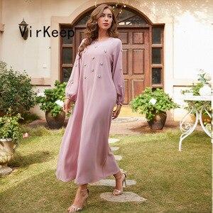 fashion women diamonds beading dress full sleeve solid robe african dashiki dubai ramadan abaya muslim gown jalabiya VKDR2477