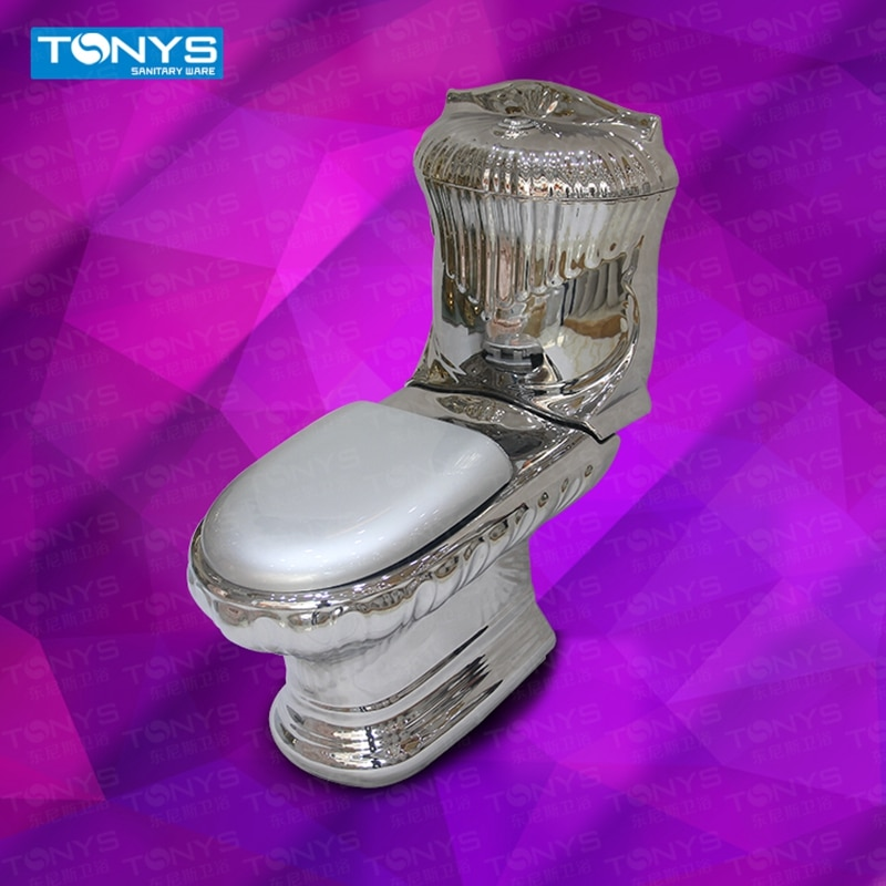 Two Piece High-grade Beautiful Emboss Silver Color Glazed Ceramic Flush Toilet KTV Villa Clubhouse Bathroom Wash-down Closestool